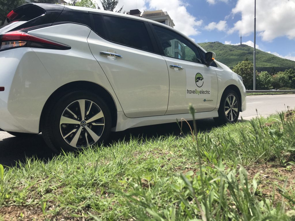 Travel by electric nissan car